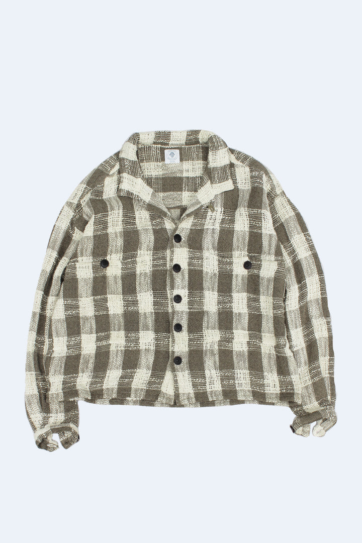 SAM SHIRT JACKET - ARMY / ECRU HANDLOOM COTTON PLAID