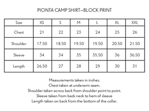 PIONTA CAMP SHIRT—PURPLE BLOCK PRINTED BAGRU CORDUROY
