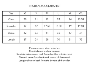 INIS BAND COLLAR SHIRT—BLOCK PRINTED PLAID