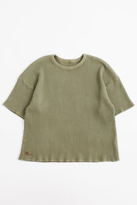 STANDARD ISSUE FOR 18 EAST - DEEP LICHEN GREEN S/S THERMAL CREWNECK