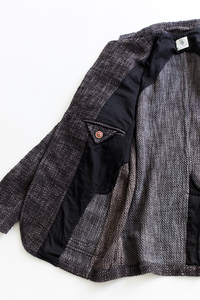 OSMAN JACKET - OVERDYED CHARCOAL KHADI COTTON TWEED