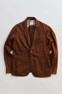 OSMAN JACKET - TOBACCO GAUZE BACK HERRINGBONE