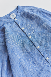 GUARDI BAND COLLAR SHIRT - PATCHWORK KANTHA INIDGO CHAMBRAY