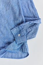 Load image into Gallery viewer, GUARDI BAND COLLAR SHIRT - PATCHWORK KANTHA INIDGO CHAMBRAY