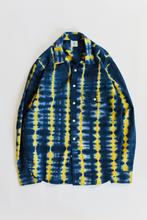 Load image into Gallery viewer, BANGS BUTTON UP SHIRT - NAVY / SUNSHINE TIE DYE STRIPE