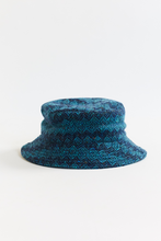 Load image into Gallery viewer, MOLLOY & SONS DONEGAL BUCKET HAT— PETROL BLUE DIAMONDWEAVE TWEED