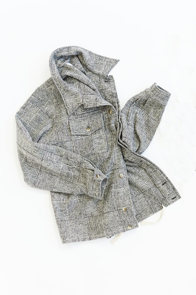 CAM SHIRT JACKET - BLACK/WHITE MOLLOY & SONS DONEGAL BASKETWEAVE TWEED