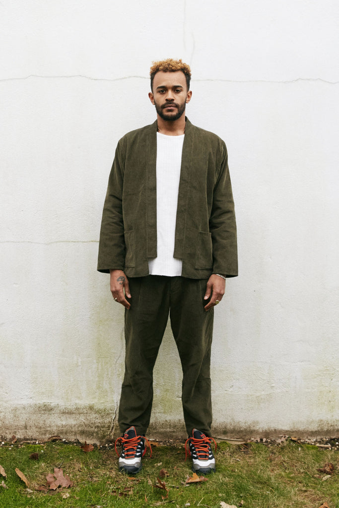 SINGLE PLEAT TROUSER - O.D.  CORDUROY