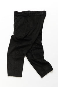 SINGLE PLEAT TROUSER - BLACK CABLED CORDUROY