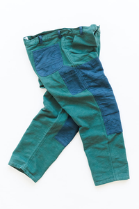 STUDIO DOUBLE KNEE PANT - KOSTON GREEN KHADI / DUSTY BLUE DOUBLE WEAVE