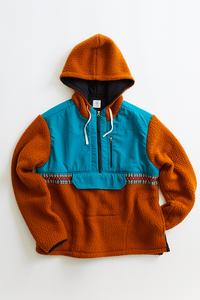 CUAN FLEECE HOODED ANORAK - TERRA COTTA