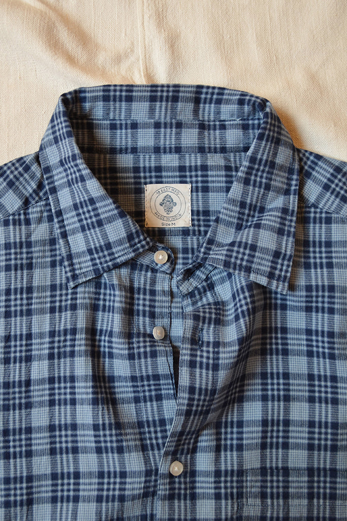 "GLOVER BUTTON UP SHIRT - INDIGO ""REAPPROPRIATED"" KHADI CHECK"