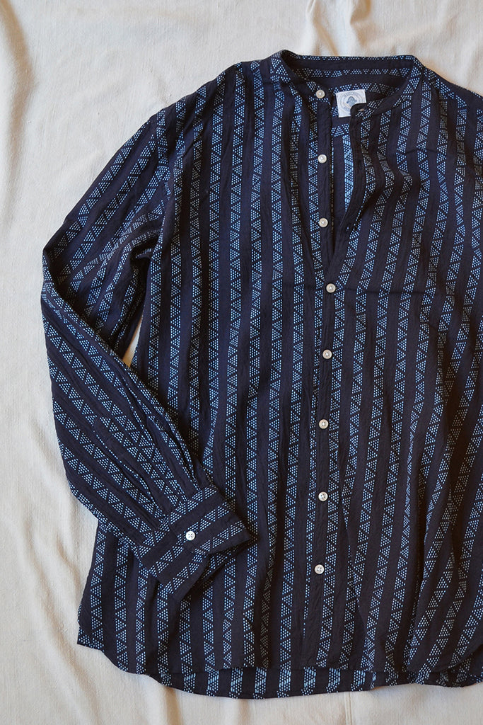 ANDREW BAND COLLAR SHIRT - NAVY