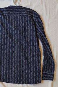 "ANDREW BAND COLLAR SHIRT - NAVY ""REAPPROPRIATED"" KHADI TRIANGLE STRIPE"