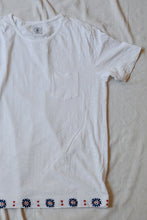 Load image into Gallery viewer, TEK HAND-EMBROIDERED TEE - WHITE SLUB JERSEY