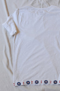 TEK HAND-EMBROIDERED TEE - WHITE SLUB JERSEY
