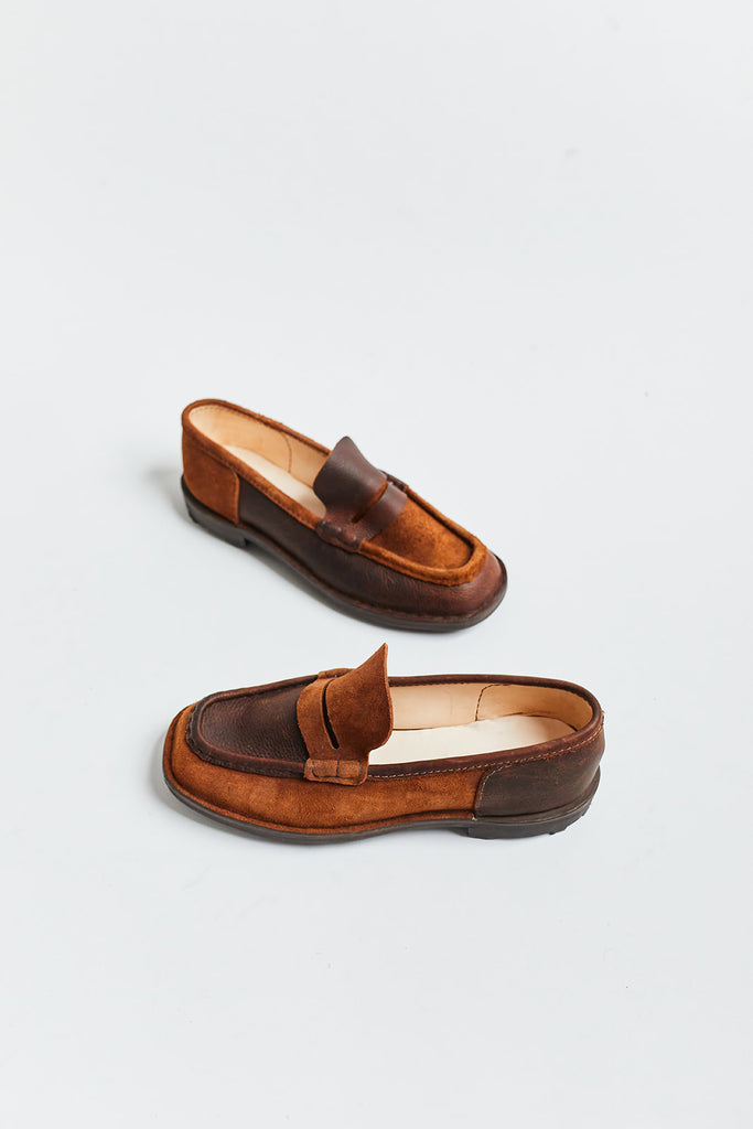 AE MCATEER PENNY LOAFER - BROWN PULL UP SPECTATOR