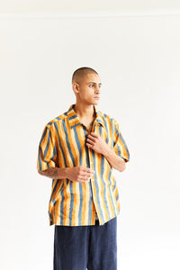 YOUSEF CAMP SHIRT - INDIGO DABU PRINTED KANTHA CLOTH