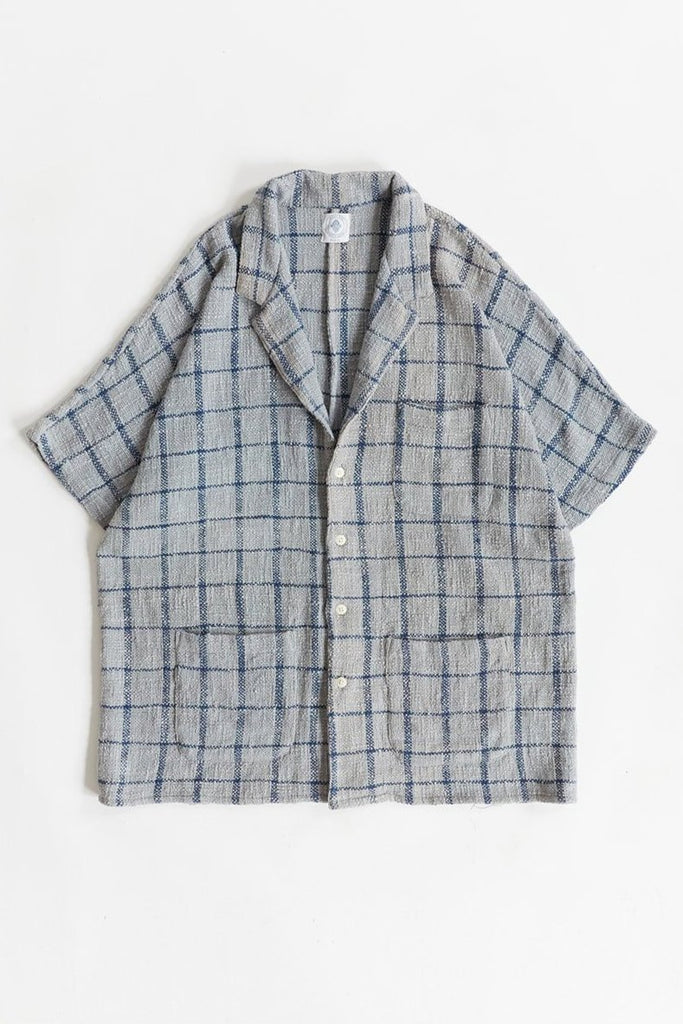 BRENES SHIRT - FOG / INDIGO WINDOWPANE COTTON TWEED