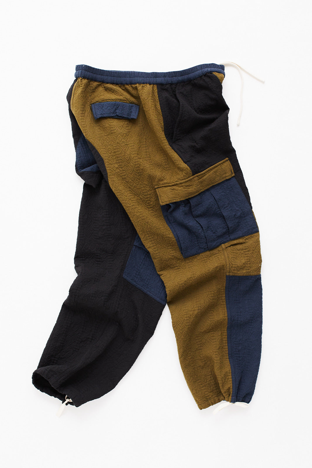 GORECKI CARGO PANT - ARMY/NAVY/BLACK PATCHWORK DOUBLE WEAVE