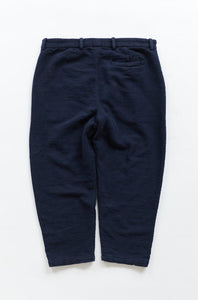 SINGLE PLEAT TROUSER - NAVY HANDLOOM DIAMONDWEAVE COTTON