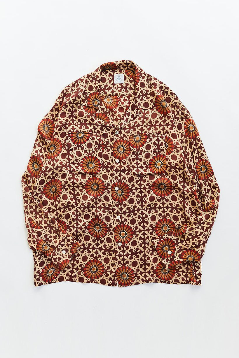 PIONTA CAMP SHIRT - BURGUNDY BLOCK PRINT