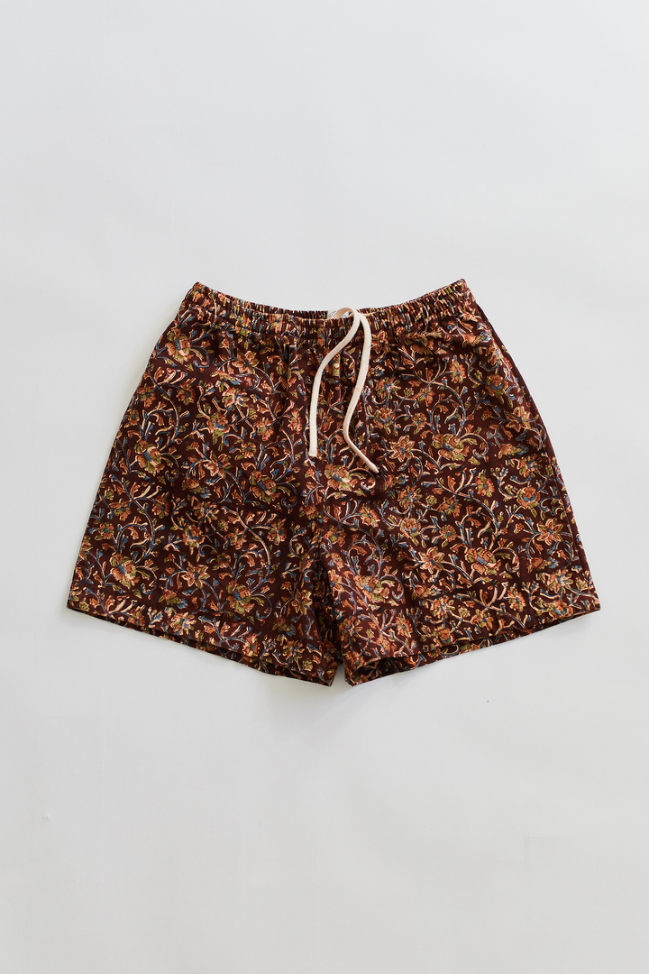 BOOTH SHORT - COCOA BAGRU PRINTED TWILL