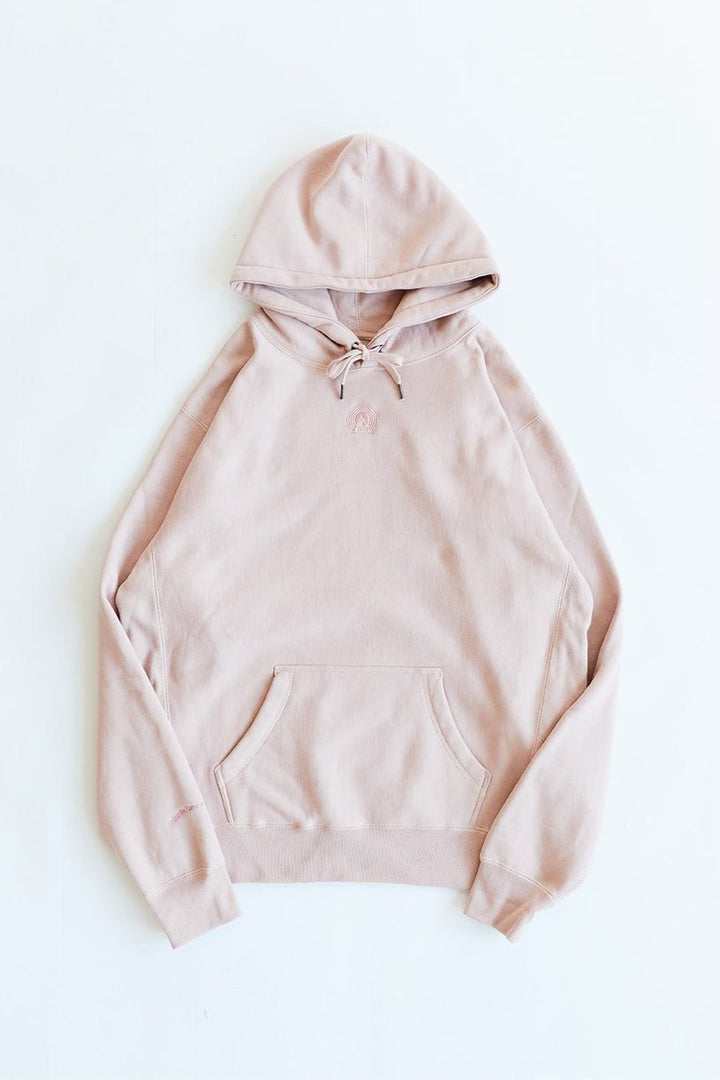 BAGRU MOUNTAIN HOODED SWEATSHIRT -DUSTY ROSE HEAVY CROSSWEAVE