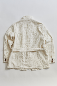 BELTED SAFARI JACKET - UNDYED CORDED COTTON
