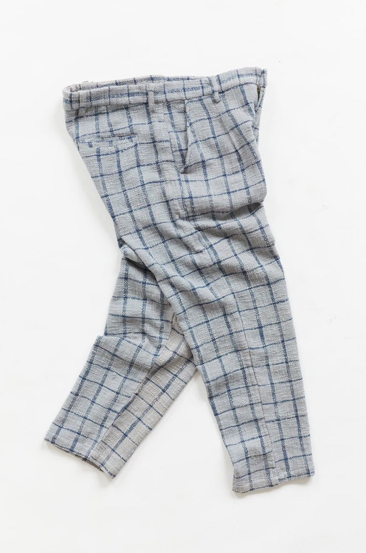 SINGLE PLEAT TROUSER - FOG / INDIGO WINDOWPANE COTTON TWEED