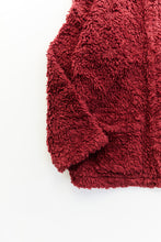 Load image into Gallery viewer, NOMAD CARDIGAN - BURGUNDY ORGANIC COTTON SHERPA