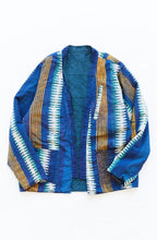 Load image into Gallery viewer, REVERSIBLE SAHASIKA - DUSTY BLUE OVERSIZED JACQUARD / DABU SAARI