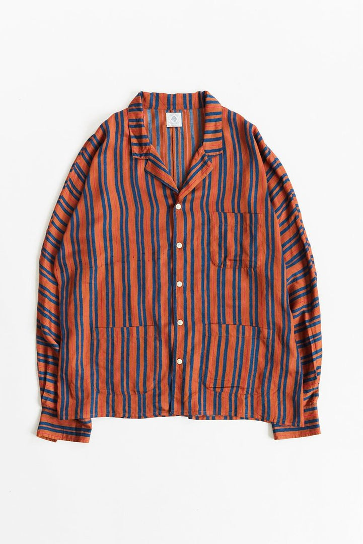 FORIO CAMP SHIRT - BURNT SIENNA BLOCK STRIPE