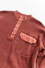 Load image into Gallery viewer, STANDARD ISSUE FOR 18 EAST—BRICK RED THERMAL MOCK NECK