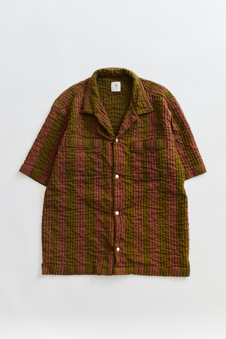 VITO CAMP SHIRT - O.D. GREEN & BERRY PRINTED CORDED COTTON