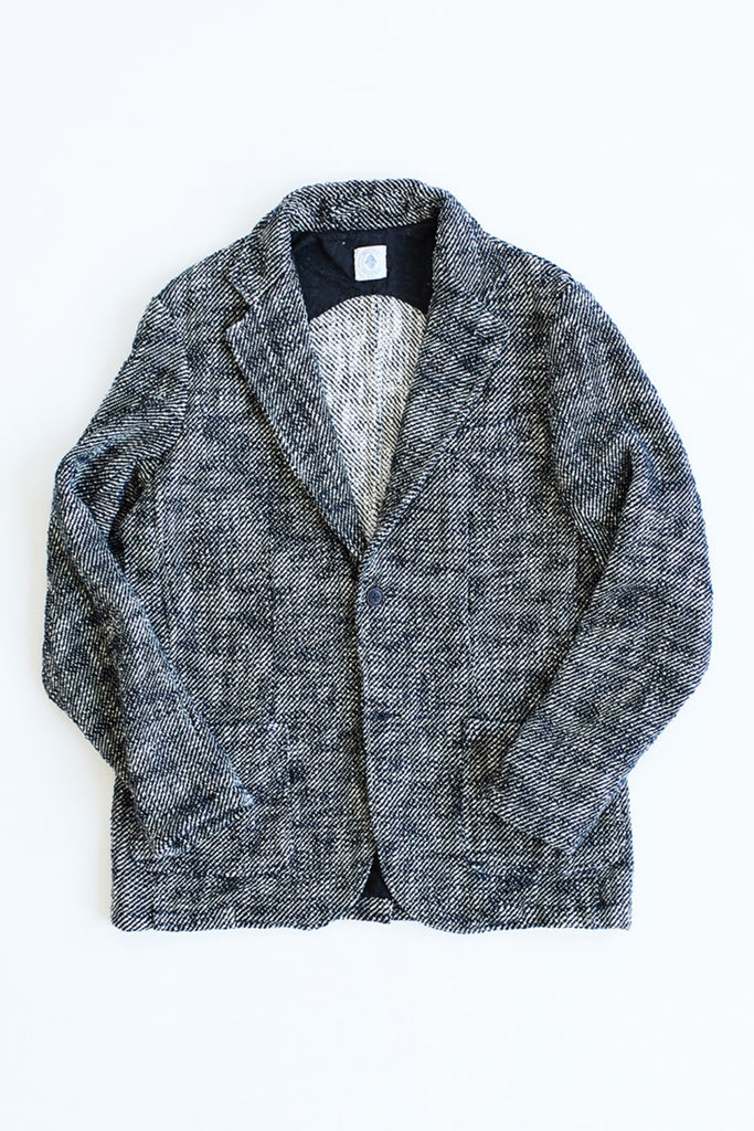 OSMAN JACKET - BLACK AND WHITE KHADI COTTON TWEED