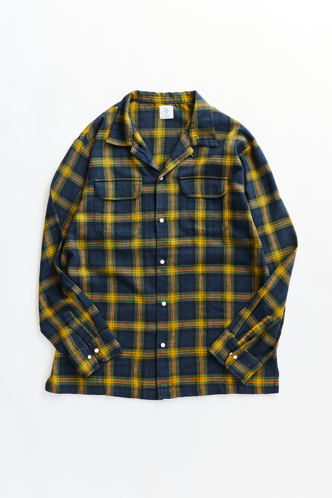 PIONTA CAMP SHIRT - NAVY PLAID SLUB COTTON