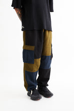 Load image into Gallery viewer, GORECKI CARGO PANT - ARMY/NAVY/BLACK PATCHWORK DOUBLE WEAVE
