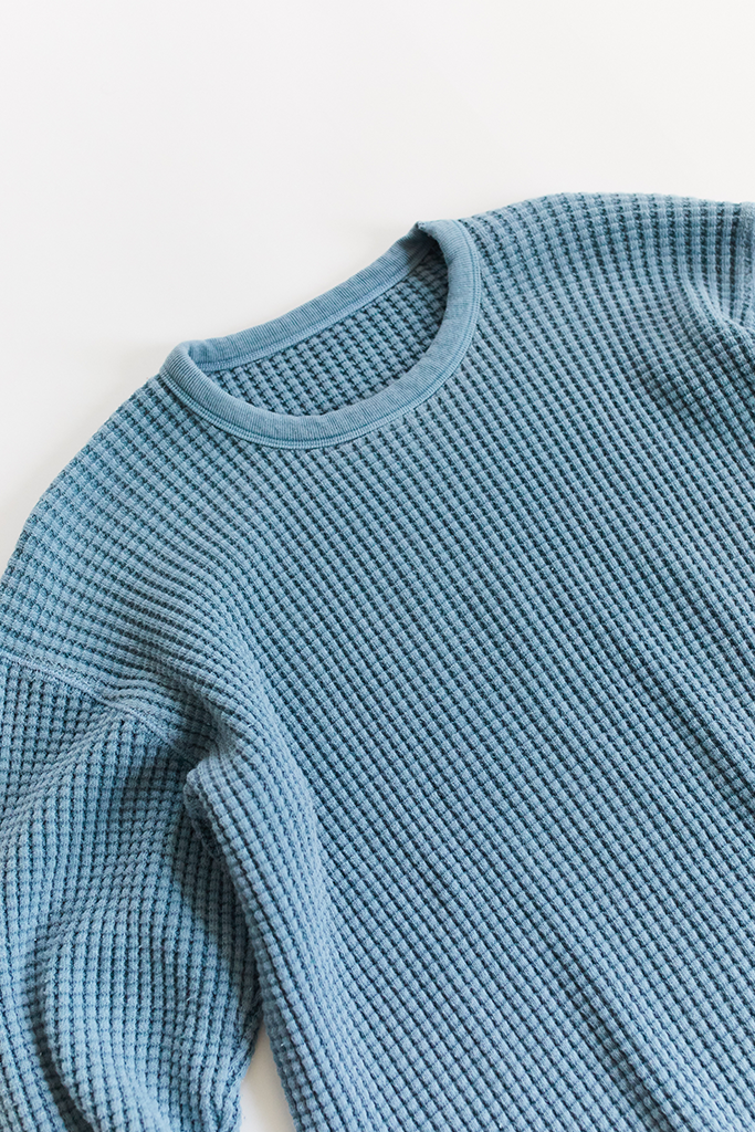 STANDARD ISSUE FOR 18 EAST—DUSTY BLUE THERMAL CREWNECK