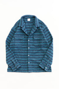 PIONTA CAMP SHIRT - PETROL BLUE MOLLOY & SONS DONEGAL DIAMONDWEAVE TWEED