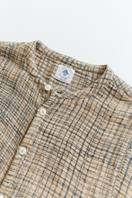 Load image into Gallery viewer, INIS BAND COLLAR SHIRT—BLOCK PRINTED PLAID