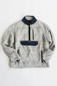 CLOCH HAND-QUILTED PULLOVER— INDIGO / NAVY KANTHA TRIANGLE