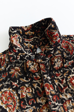 Load image into Gallery viewer, CLAREMONT QUILTED SHIRT—BLACK BAGRU PRINT CORDUROY