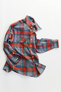 ROOMET WORK SHIRT - INDIGO MELANGE FLANNEL PLAID