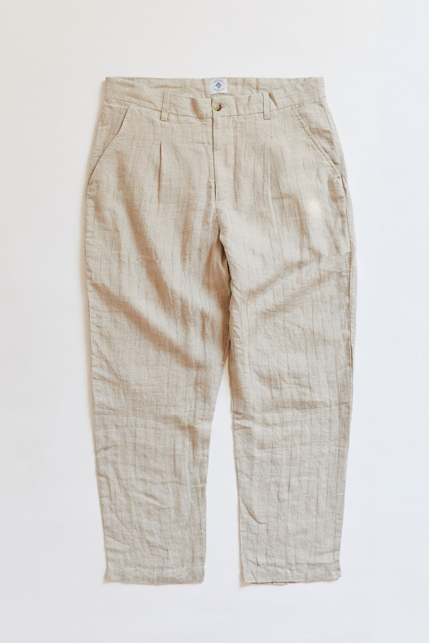 SINGLE PLEAT TROUSER - SAND DROPOUT LINEN