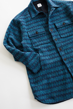 Load image into Gallery viewer, KEATING OVERSIZED SHIRT JACKET — PETROL BLUE MOLLOY & SONS DONEGAL DIAMONDWEAVE TWEED