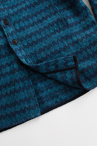 KEATING OVERSIZED SHIRT JACKET — PETROL BLUE MOLLOY & SONS DONEGAL DIAMONDWEAVE TWEED