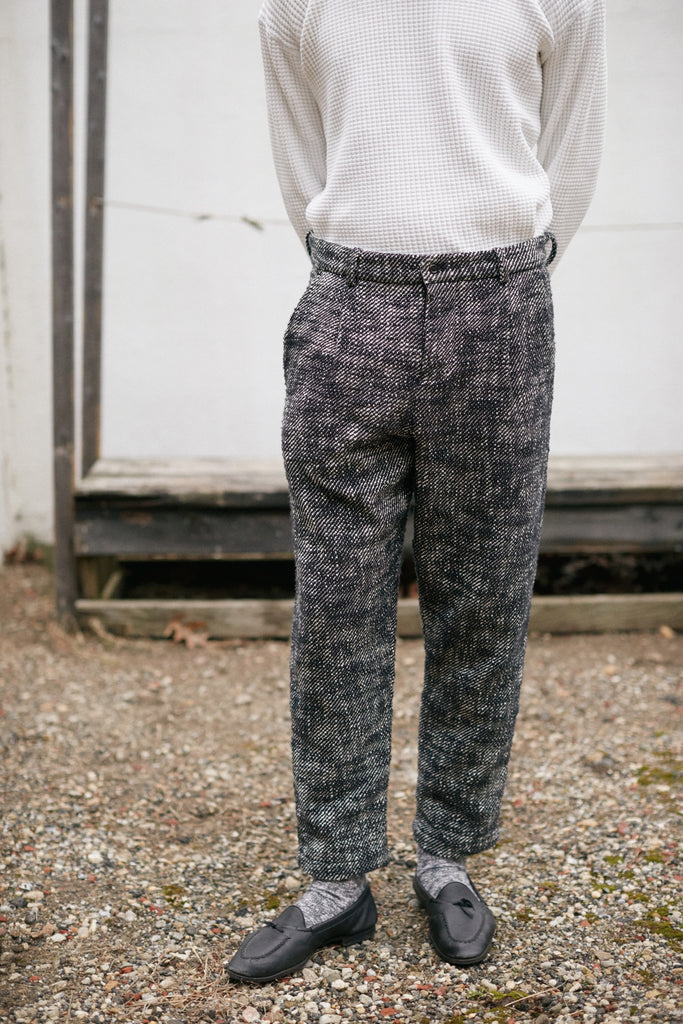 SINGLE PLEAT TROUSER - BLACK AND WHITE KHADI COTTON TWEED