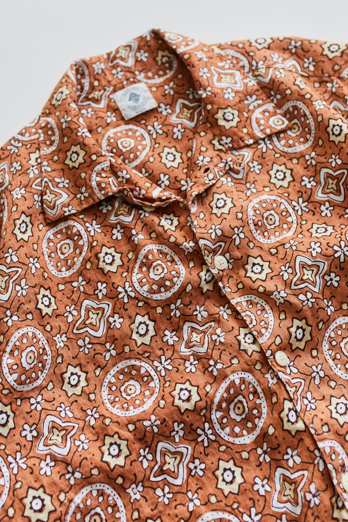 YOUSEF CAMP SHIRT -  COPPER AGBALU PRINTED LINEN