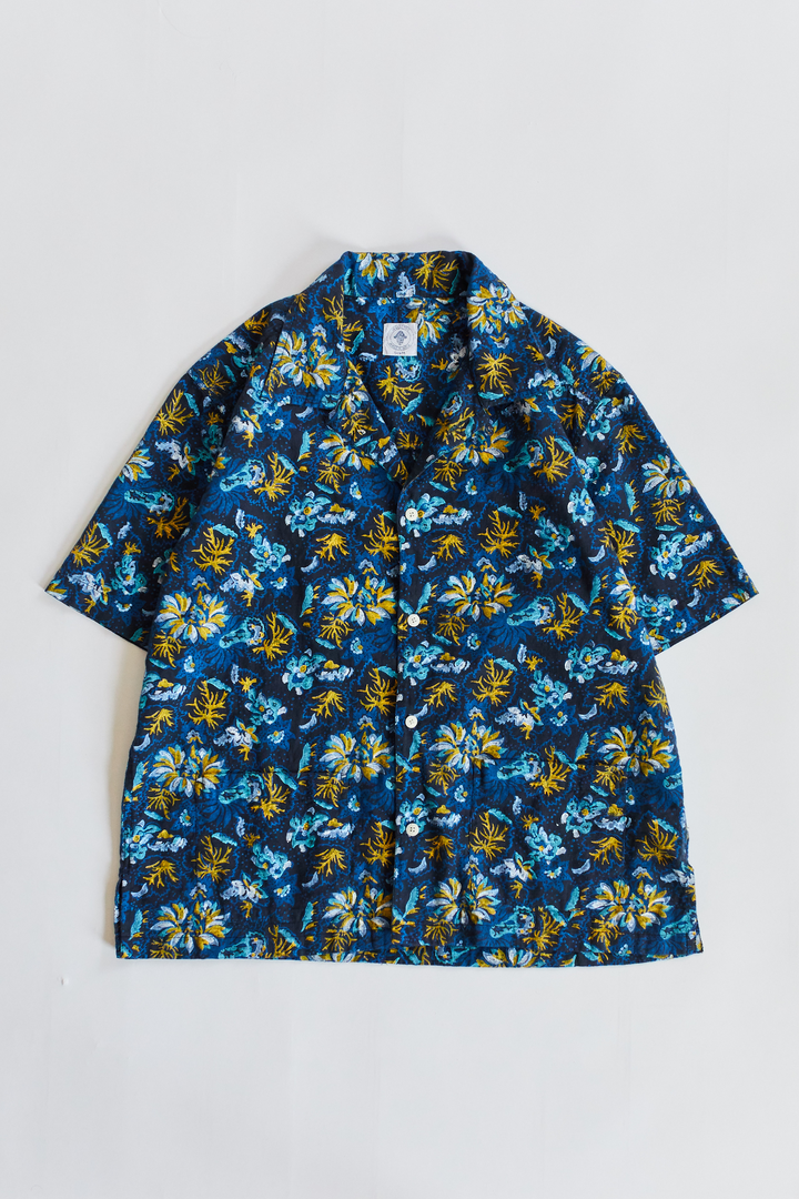 YOUSEF CAMP SHIRT - NAVY BLOCK PRINTED LINEN